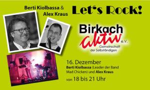 Let's rock Birkach - Glühweinstand mit Musik von Berti Kiolbassa & Alex Kraus @ Parkplatz Sanitär Volk