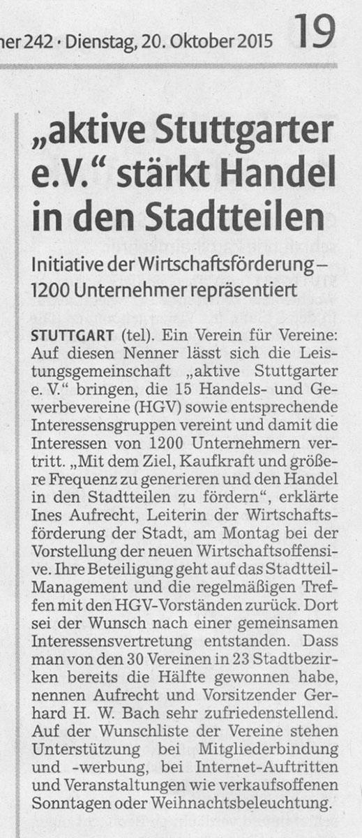 aktive Stuttgarter e.V. stärkt den Handel in den Stadtteilen Stuttgarter Nachrichten vom 20.10.2015
