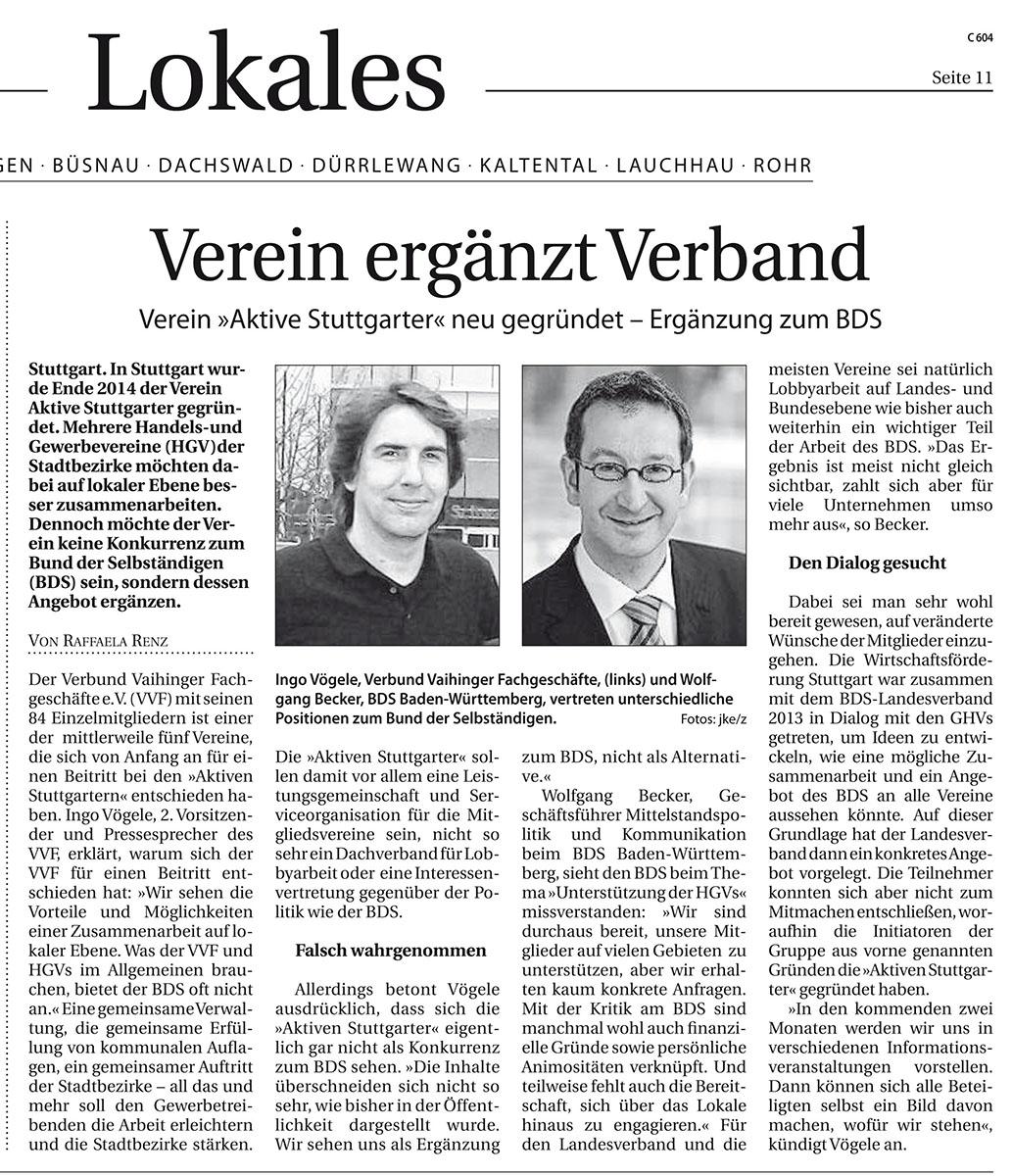 Verein ergänzt Verband - Bericht aus Filder Extra vom 04.02.2015
