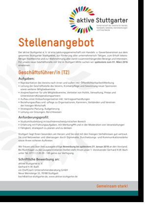 Stellenangebot Geschäftsführer/in (TZ)