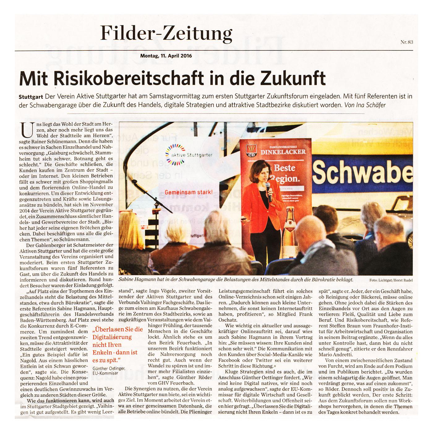 Pressebericht zum Zunkunftsforum Filderzeitung vom 11. 04. 2016