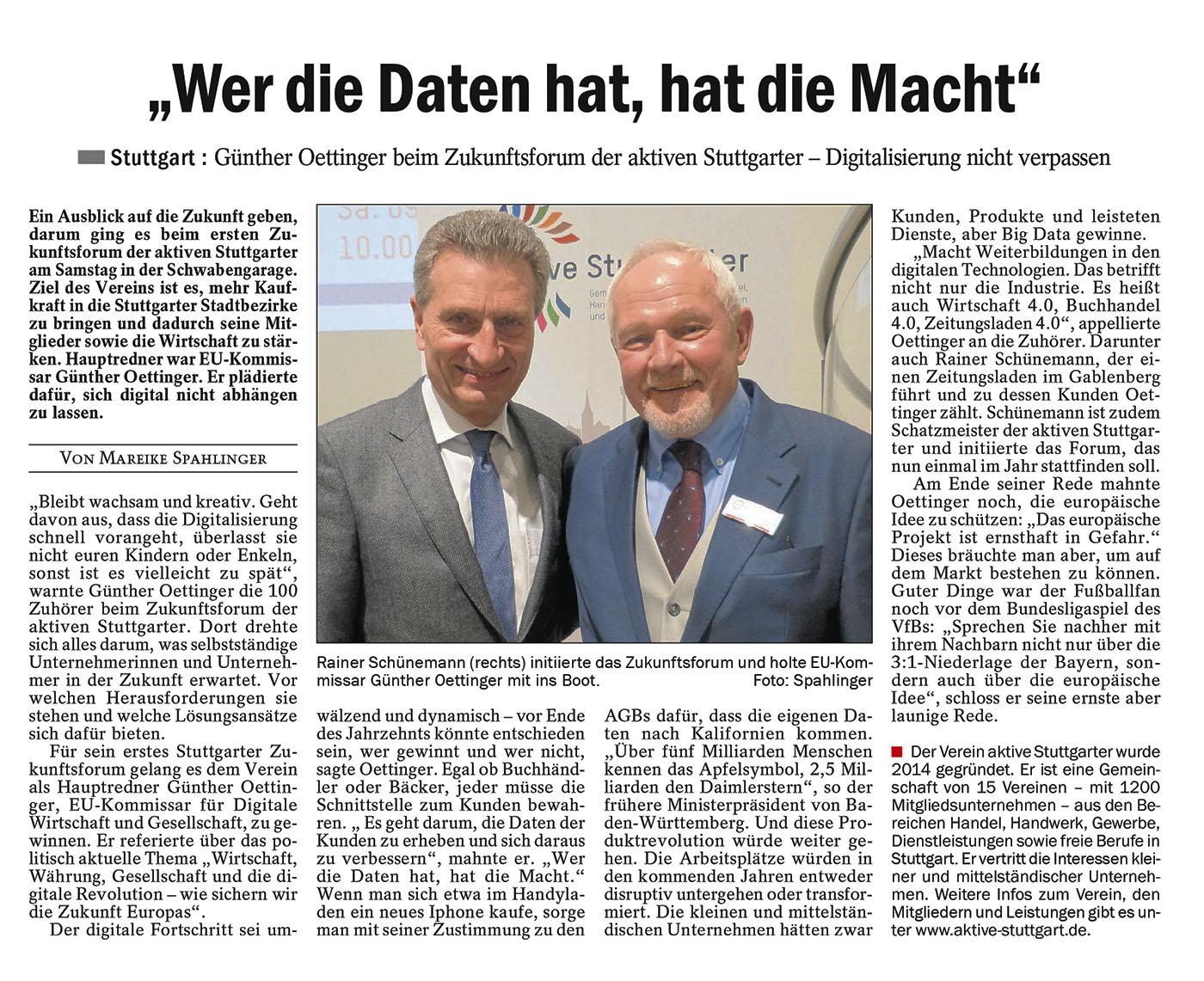 Pressebericht zum Zunkunftsforum Cannstatter Zeitung vom 11. 04. 2016