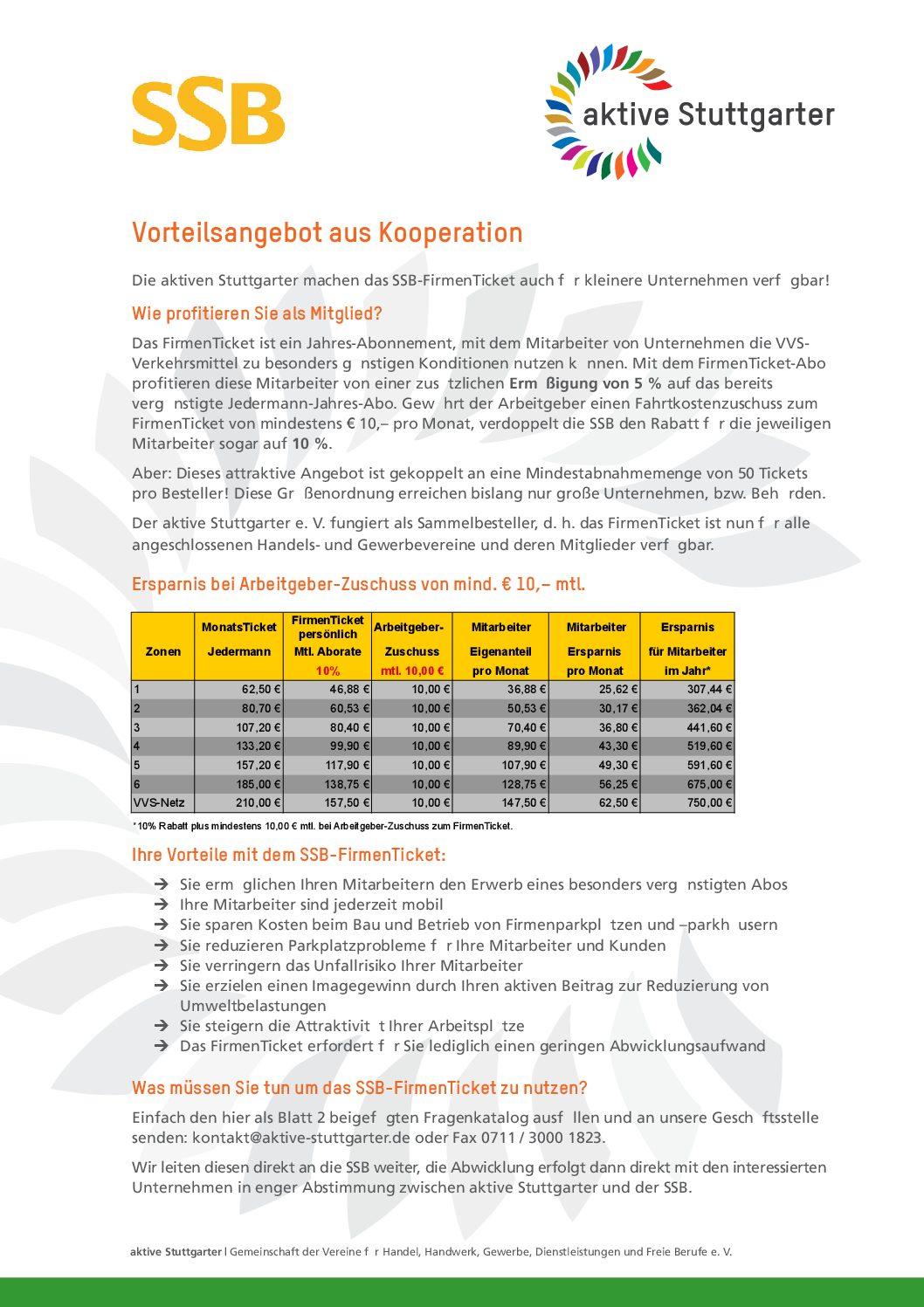 Vorteilsangebot Für Mitglieder Ssb Firmen Abo Aktive Stuttgarter
